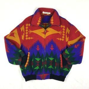 Vintage Aztez Tribal Coat Wool Oversized Zip